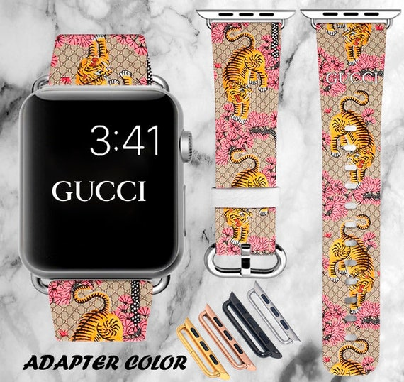 758762e671c Inspired by Gucci Watchband Logo Apple Watch band 44mm Tiger