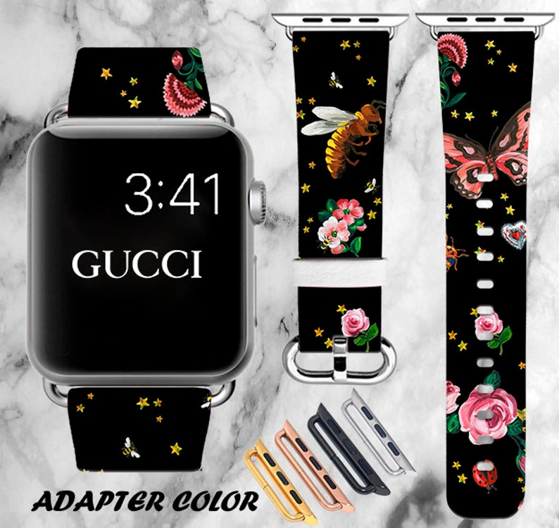 7e60ba1d5f9 Inspired by Gucci Apple Watch band Flowers iWatch band 42mm
