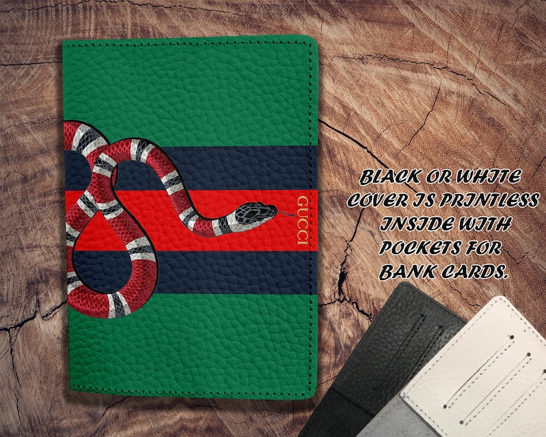 35c8d280ddd Inspired by Gucci Leather cover Passport holder Snake Passport