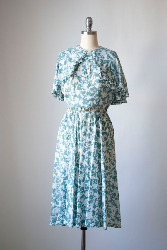 Vintage 1940's Printed Silk Chiffon Dress with Cap