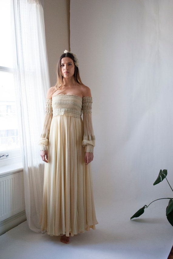 Vintage 1970's Jean Varon Silk Chiffon Dress Set