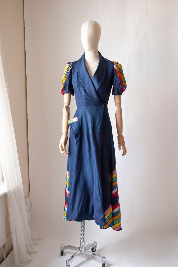 Vintage 1940's Taffeta House Dress with Rainbow St
