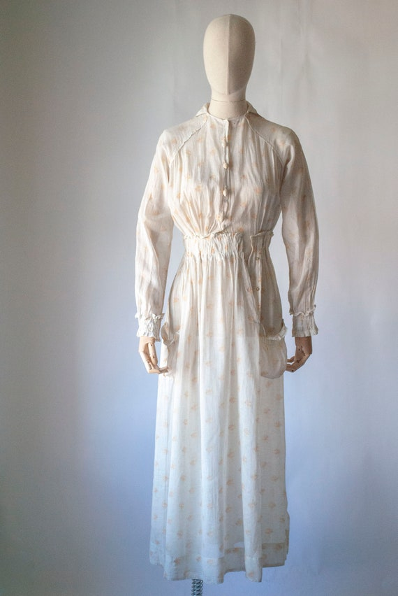 Antique 1900's Edwardian Printed Lawn Cotton Dress
