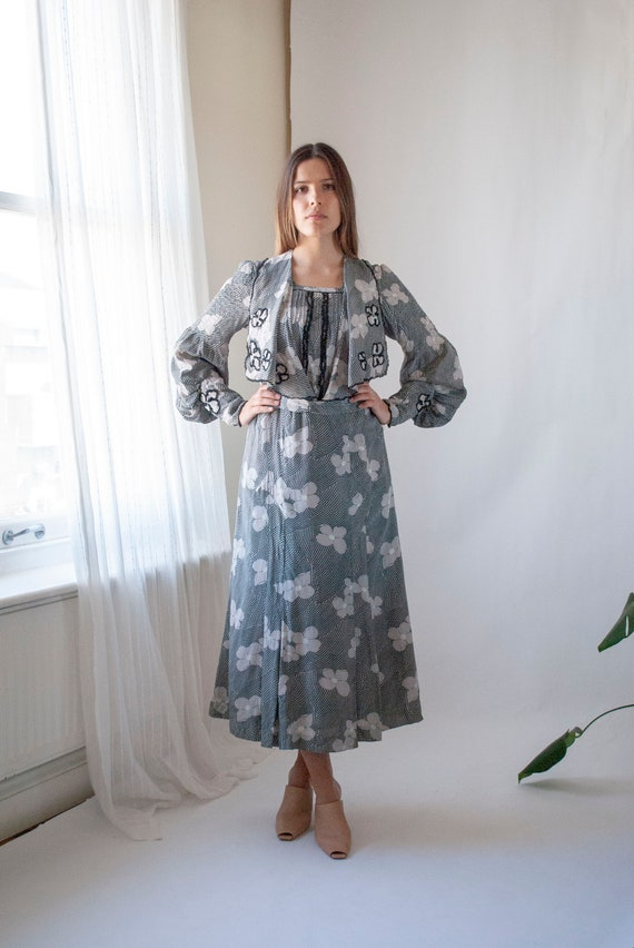 RARE 1930's Floral Printed Silk Day Dress with Bis