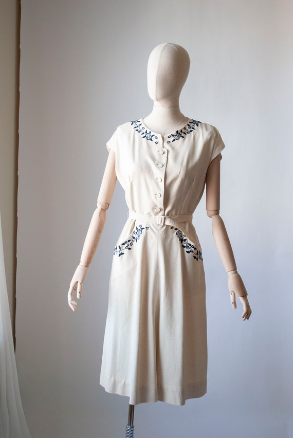 Vintage 1940's Embroidered Silk Day Dress