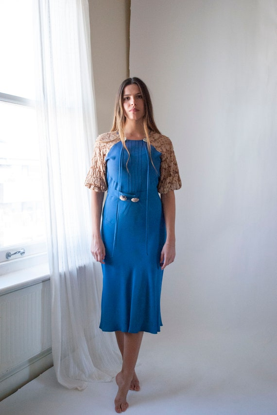 1930's Silk Crepe Day Dress with Lace Balloon Slee