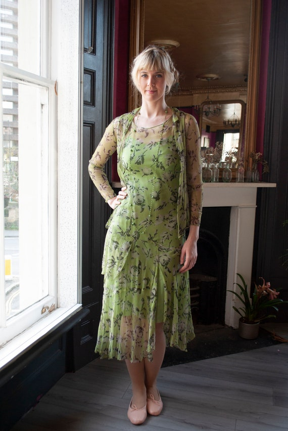 Vintage 1930's Printed Silk Chiffon Dress Set