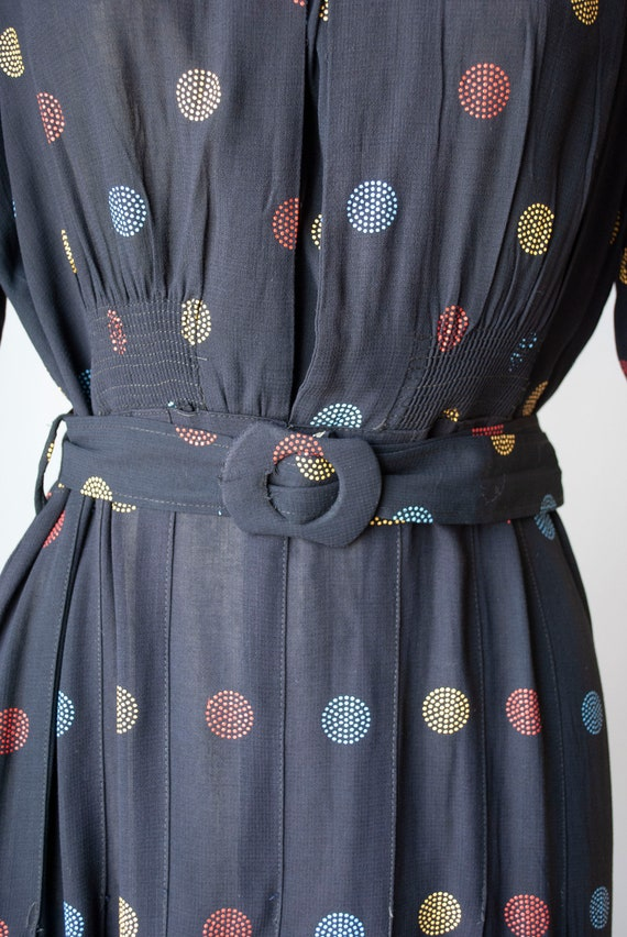 Vintage 1940's Embroidered Polkadot Rayon Day Dre… - image 6