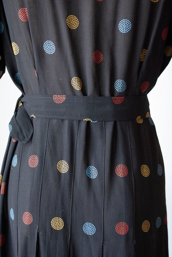 Vintage 1940's Embroidered Polkadot Rayon Day Dre… - image 5