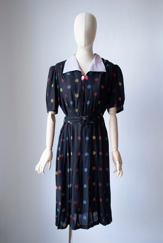 Vintage 1940's Embroidered Polkadot Rayon Day Dres