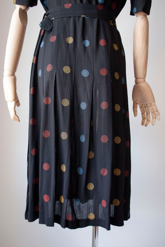 Vintage 1940's Embroidered Polkadot Rayon Day Dre… - image 4