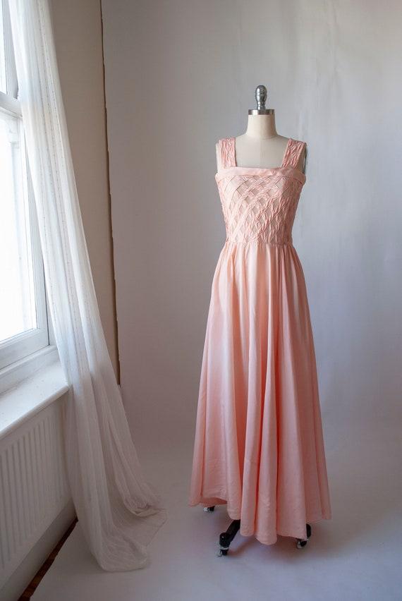 1940's Rayon Boudoir Gown with Sheer Net Lattice B