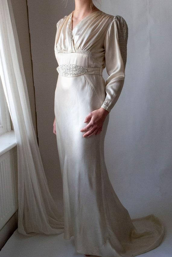 Vintage 1930's Rayon Satin Bridal Dress with Cord