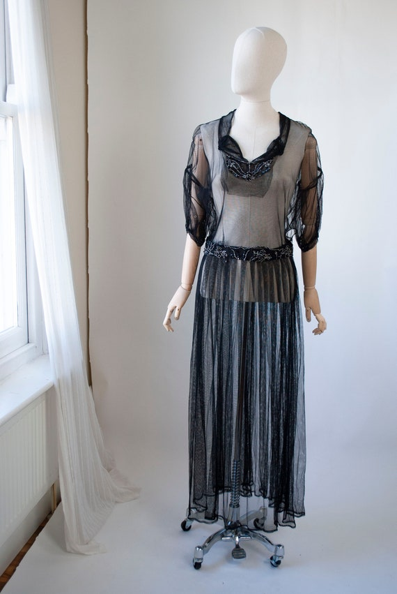 Vintage 1930's beaded Tulle Dress with Puff Sleeve