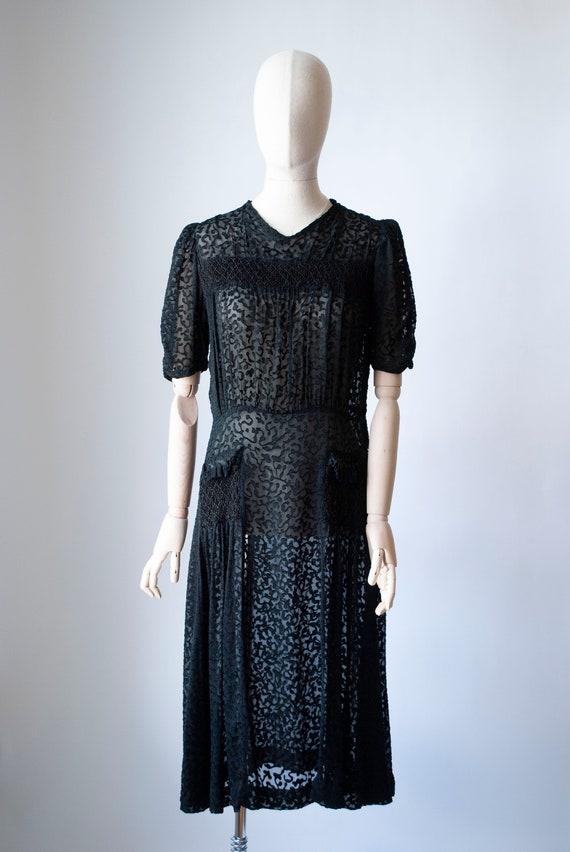 Vintage 1940's Devore Velvet Dress with Smocking