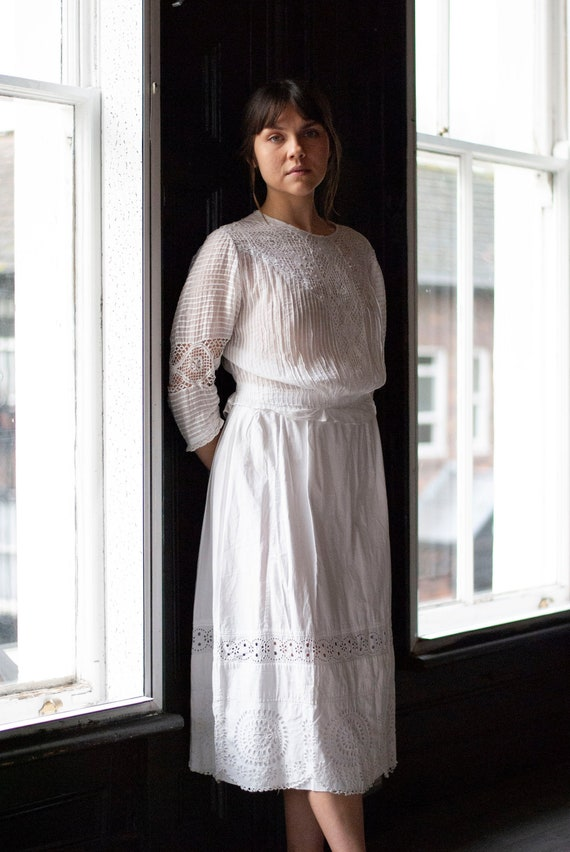 Antique Edwardian Broderie Anglaise Skirt