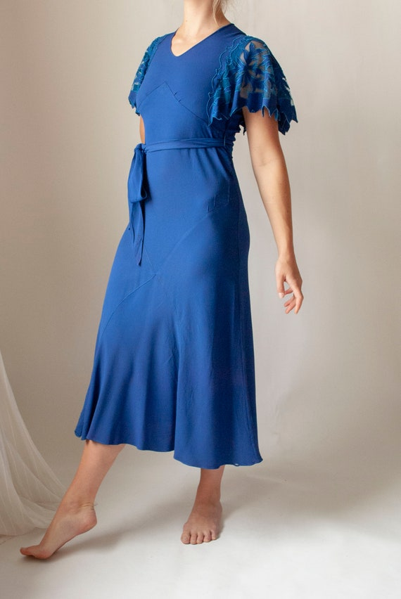 Vintage 1930's Rayon Crepe Dress with Cutwork Flu… - image 2