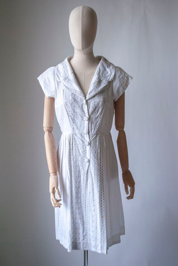 Vintage 1940's Embroidered Cotton Summer Dress