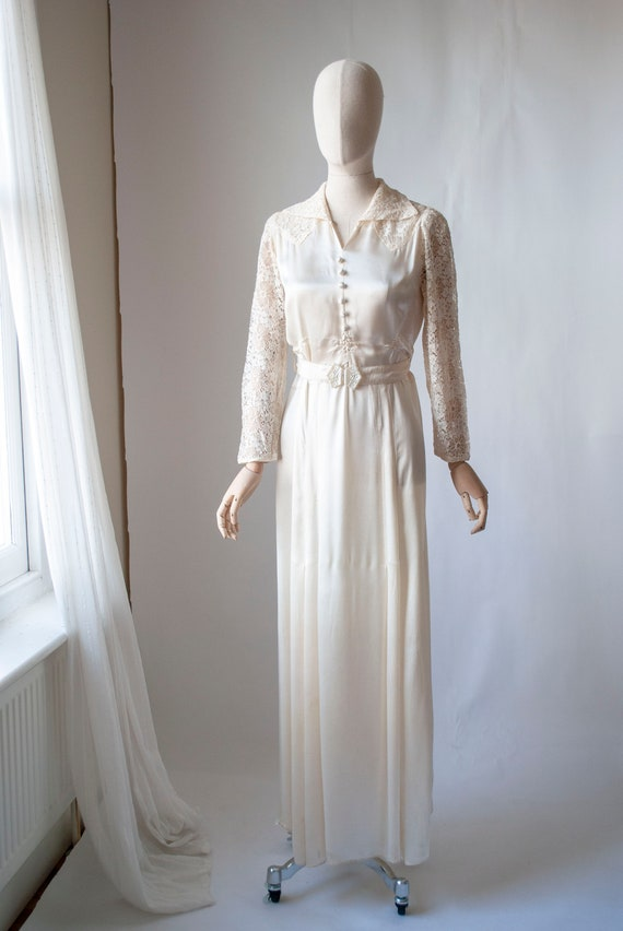 1940's Rayon Satin Bridal Dress with Contrast Lace
