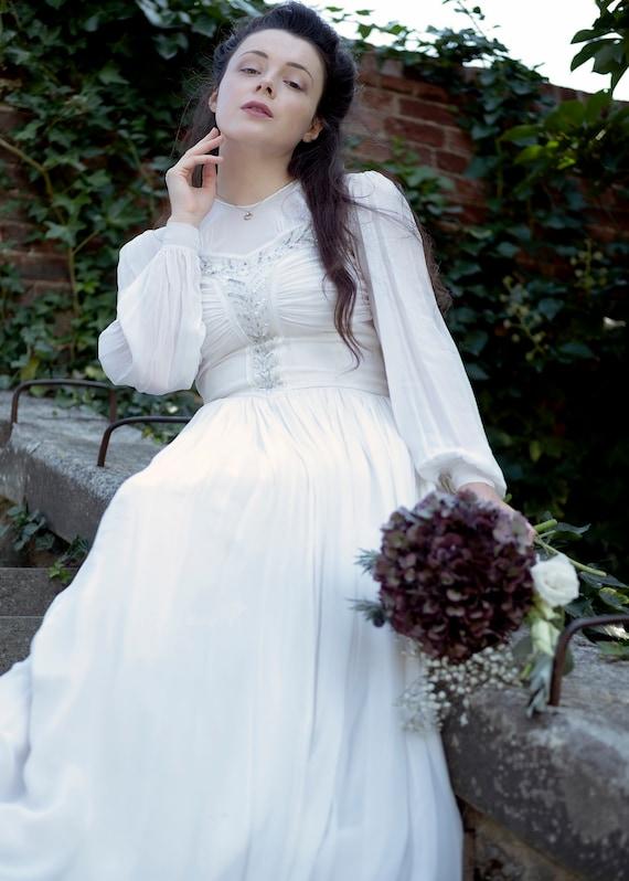 Vintage 1940's Chiffon Beaded Bridal Dress with Bi