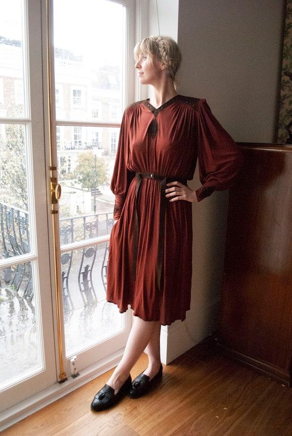 OOAK Vintage Jean Muir Suede Detail Silk Jersey Dr