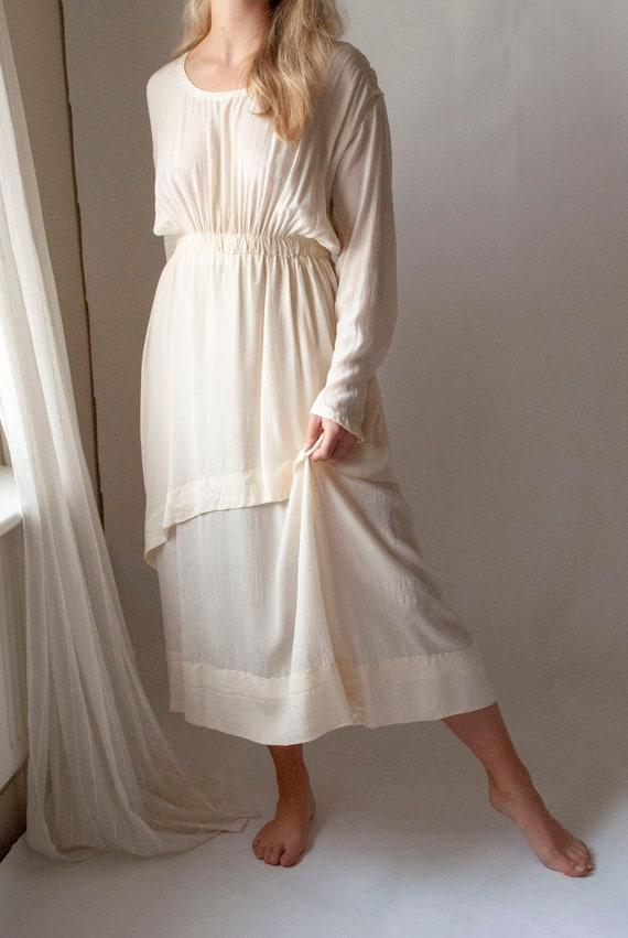 Vintage Edwardian 1910's Embroidered Silk Dress
