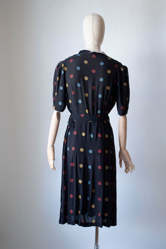 Vintage 1940's Embroidered Polkadot Rayon Day Dre… - image 3