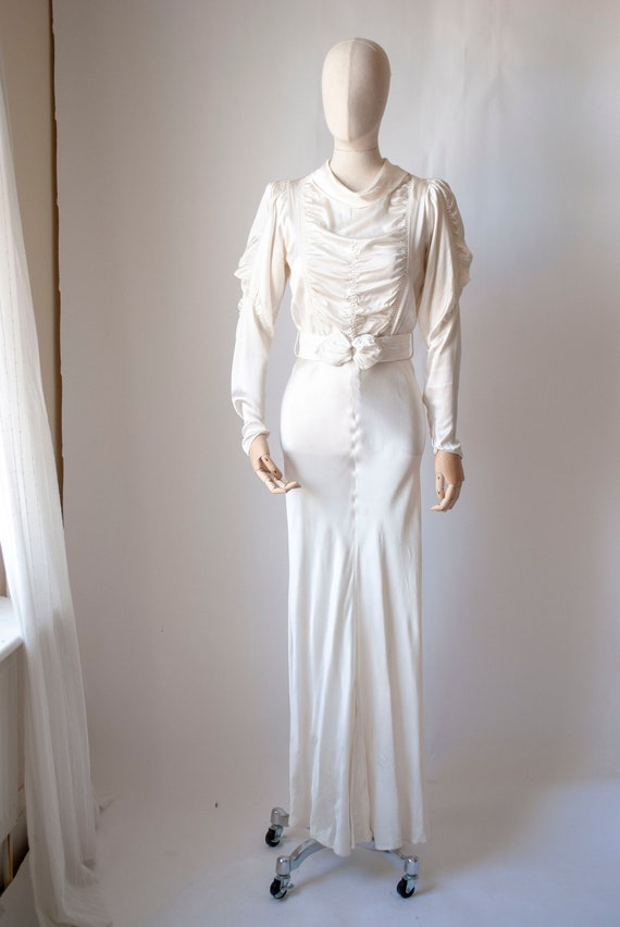 1930's Rayon Satin Bias Cut Bridal Dress with a Ru