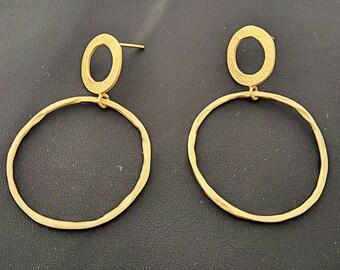 4mm Thin Gold Hoops. 14K Yellow Solid Gold Chic Hoop Earrings.Meander Greek Art Hoop Earrings