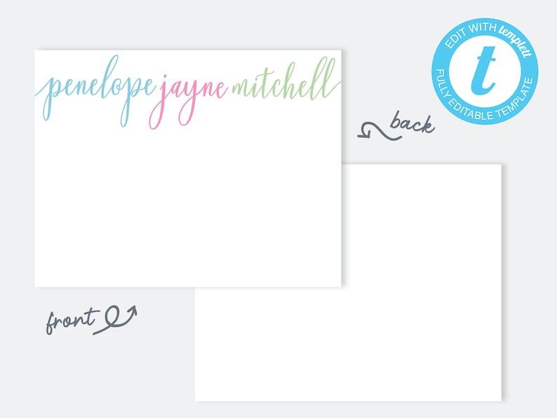 Woman StationeryPrintable StationeryThank You NotecardPersonalized StationeryPersonalized NotecardsHandlettered StationeryNP86