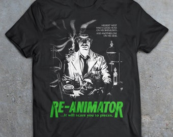 Re-Animator Movie T-Shirt, 80's Horror Shirt, Slasher Film, Cult Movie, Friday the 13th, Punk, Goth From Beyond, Lost Boys
