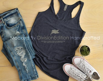 Download Free Tank top Mockup -Next Level - Women's Triblend Racerback Tank - 6733 Navy - Apparel photography PSD Template
