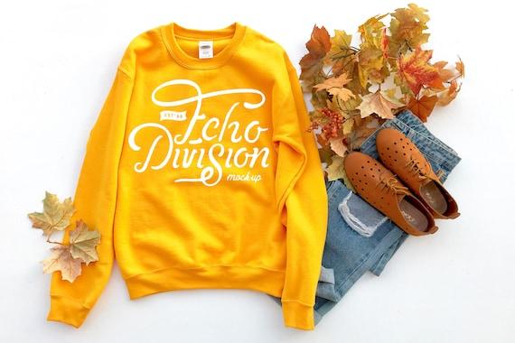 Sweatshirt Mockup Gildan Mockup photography 18000 mockup Fall Mockup flat lay Heavy Blend Crewneck Sweatshirt Black