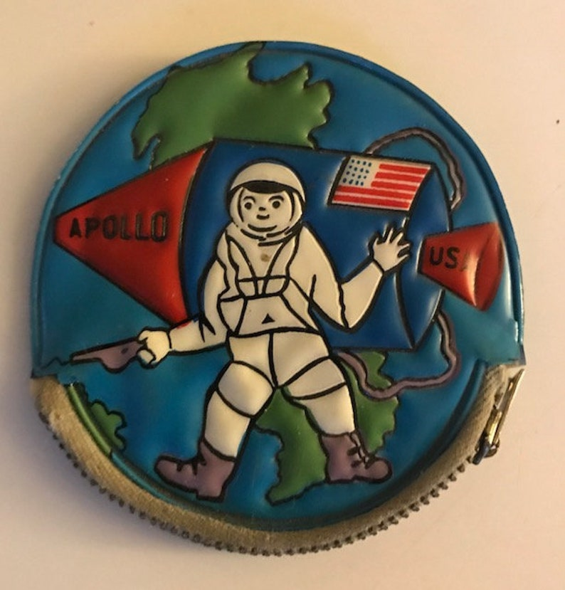 Vintage Mid Century 1960s Apollo Space Capsule and Astronaut with Earth in the Background Toy Coin Change Purse by Sirco
