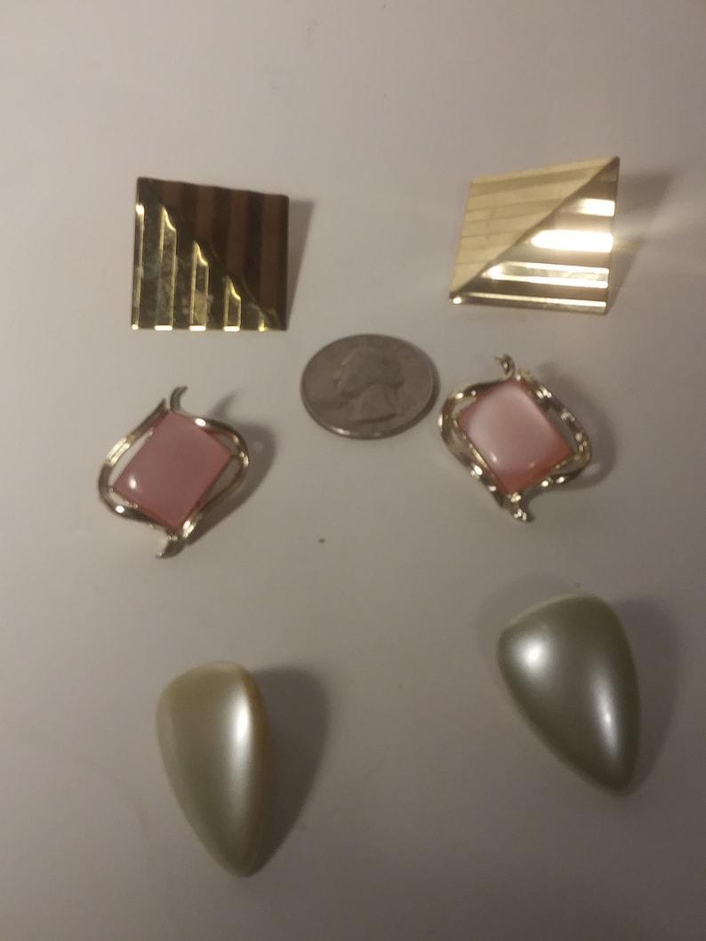 Set of 3 Vintage Clip On Earrings