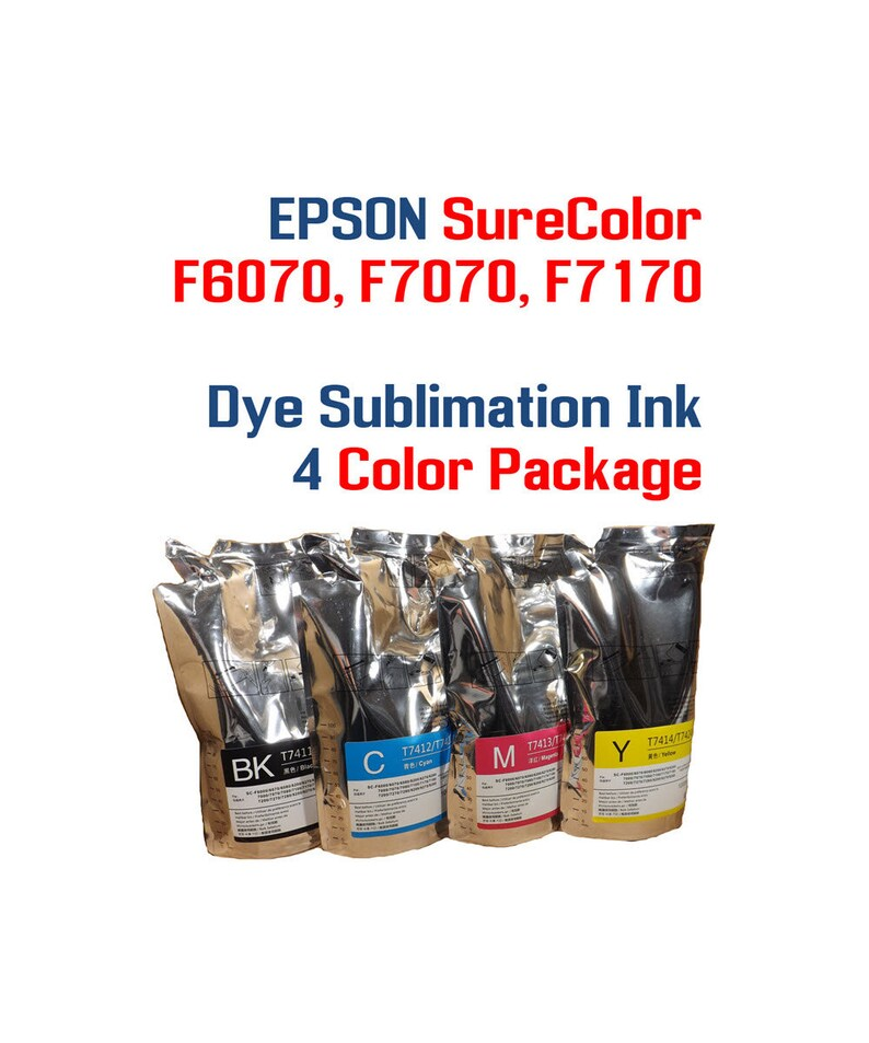 acba0a18079e6 Dye Sublimation Ink 4 Colors 1000ml Compatible ink with 4 chips - Epson  SureColor F6070, F7070, F7170 printers - Heat Transfer printing