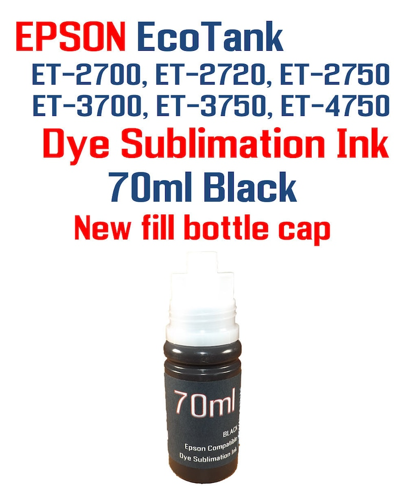 Dye Sublimation Ink - Epson EcoTank ET-2720 printers - 4 70ml bottles  Sublimation ink