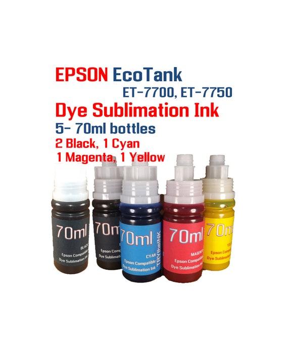 Dye Sublimation Ink - Epson EcoTank et-7700 et-7750 printers - 5- 70ml  bottles Sublimation ink