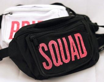 Glitter SQUAD Fanny Pack Waist Bag - Sparkle Bachelorette Party Squad -  Wedding Accessory 3b75d12e71249