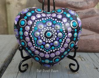 Handmade mandala heart stone with dot art - meditation stone - spiritual - unique gift - purple - turquoise - silver