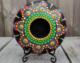 Handmade mandala stone with dot art tealight holder - candle holder - flower power - rainbow - pink - yellow - orange - blue - green - white