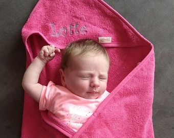 Personalised hooded embroidered baby towel - customized bath cape - custom baby shower gift - maternity gift