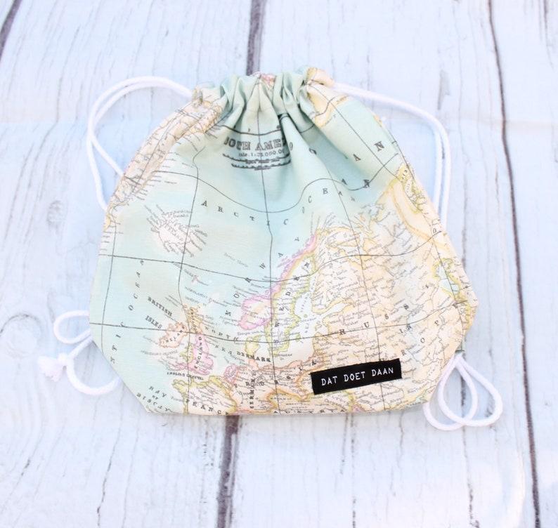 Drawstring waterproof atlas world map toddler backpack  M image 0