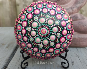 Handmade mandala stone with dot art - meditation stone - spiritual - unique gift - green - pink - cream