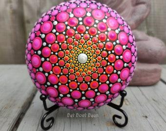 Handmade mandala stone with dot art - meditation stone - spiritual - gradient colors - pink - yellow - orange - unique gift