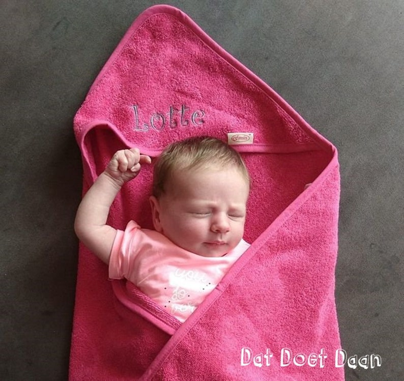 Personalised hooded embroidered baby towel  customized bath image 0