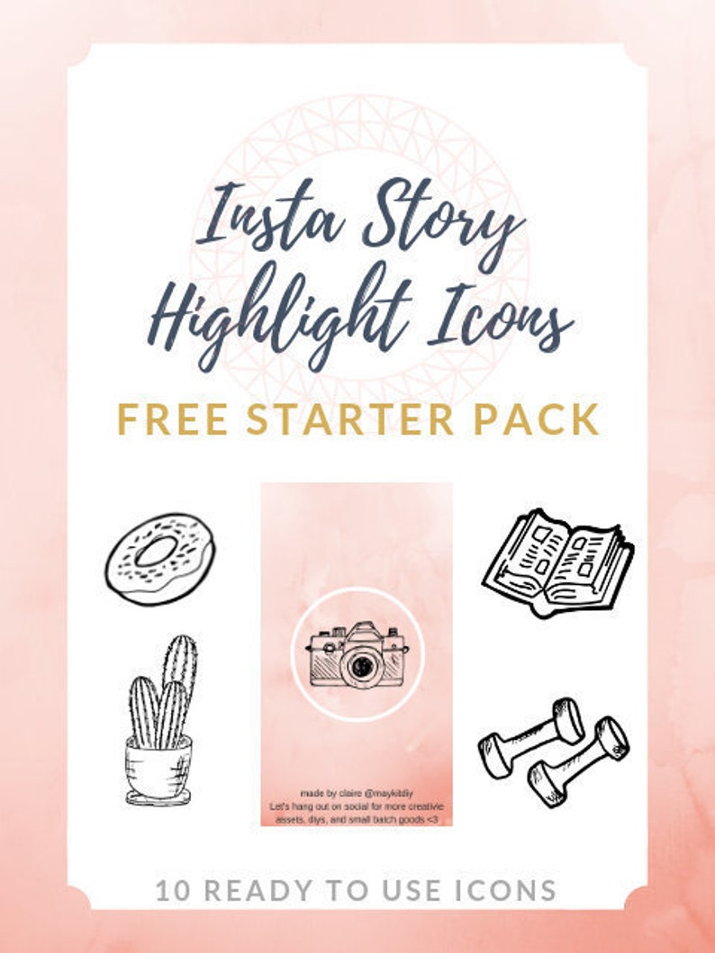 FREE Instagram Story Highlight Icons - 10 Icons on Pink Marble Background |  Fashion, Beauty, Lifestyle, Food, Decor, Handmade, Bloggers
