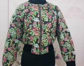 Sale Vintage 80 39 s ladies wide sleeves cropped quilted oversized bomber jacket. Floral pattern, gorgeous.