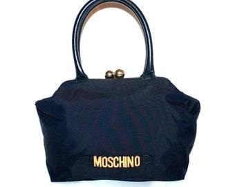fbc51a93dea16 Vintage 80 s Moschino redwall kiss lock navy nylon leather hand gold logo  bag. Italian designer purse.