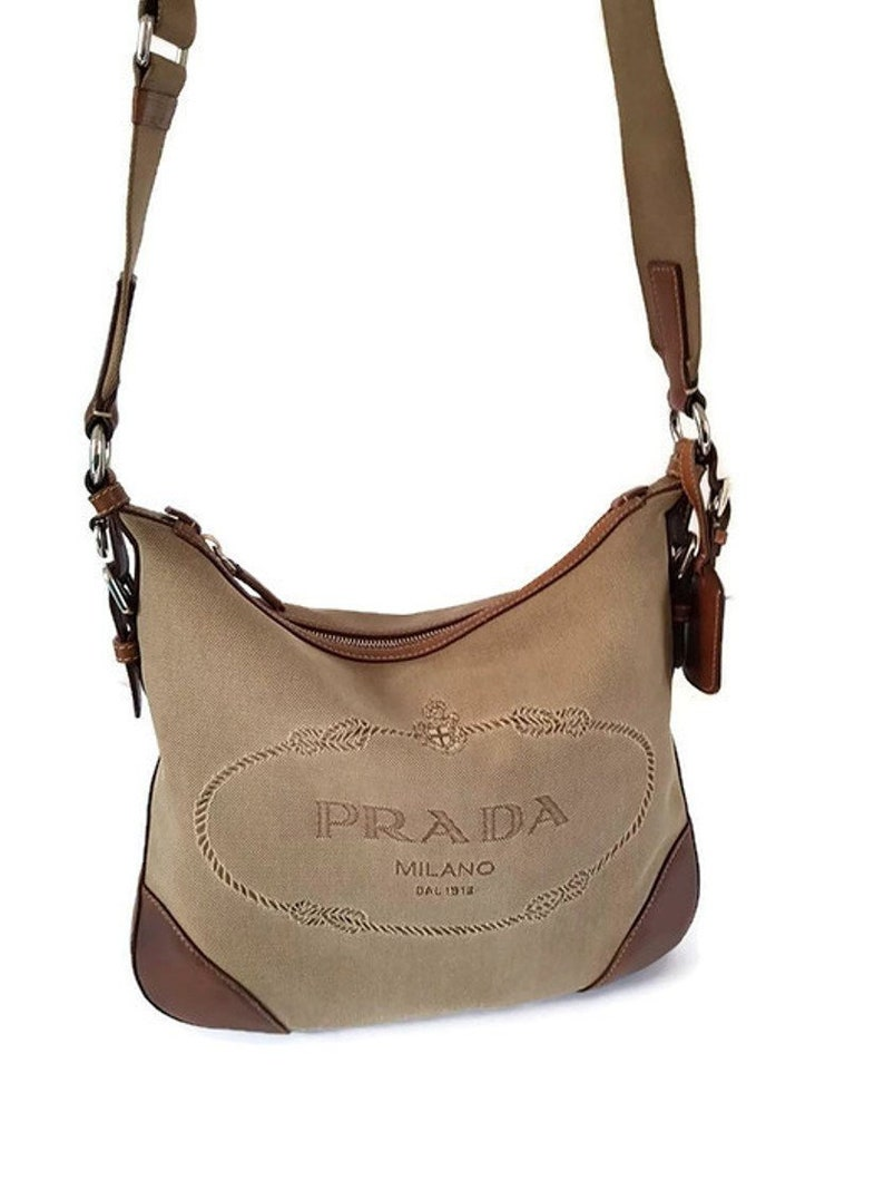 7a086eaf454f7 Sale! Vintage Prada men woman unisex Brown Logo Jacquard Leather Messenger  shoulder Bag, Italian deisgner purse